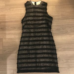 J. Crew Black Lace Fringe Dress
